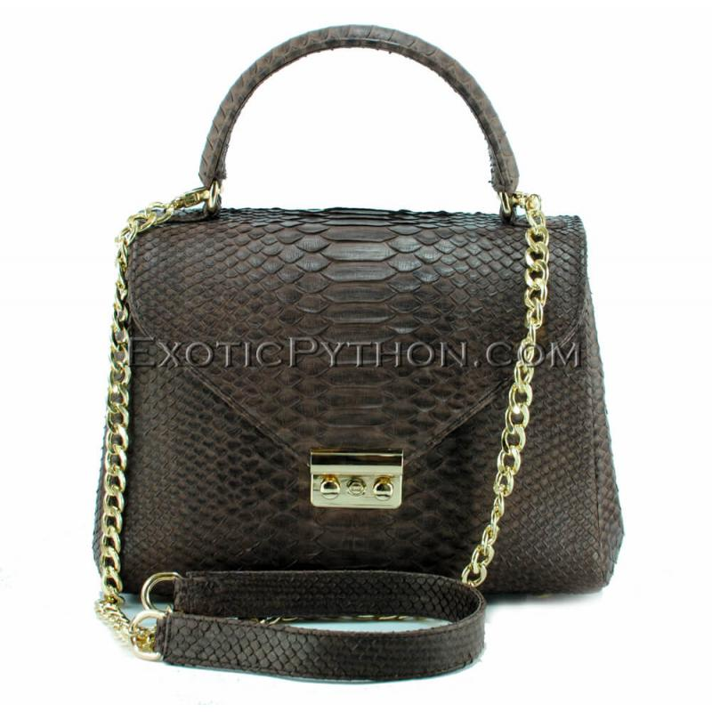 Reptile skin bag dark brown shiny BG-305