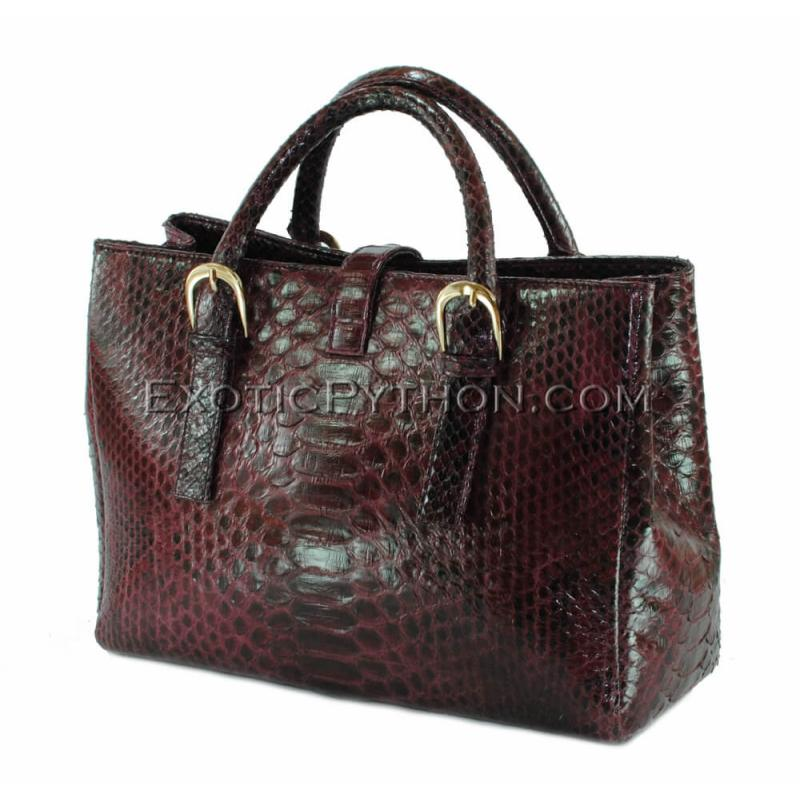 Python shoulder bag burgundy shiny BG-293