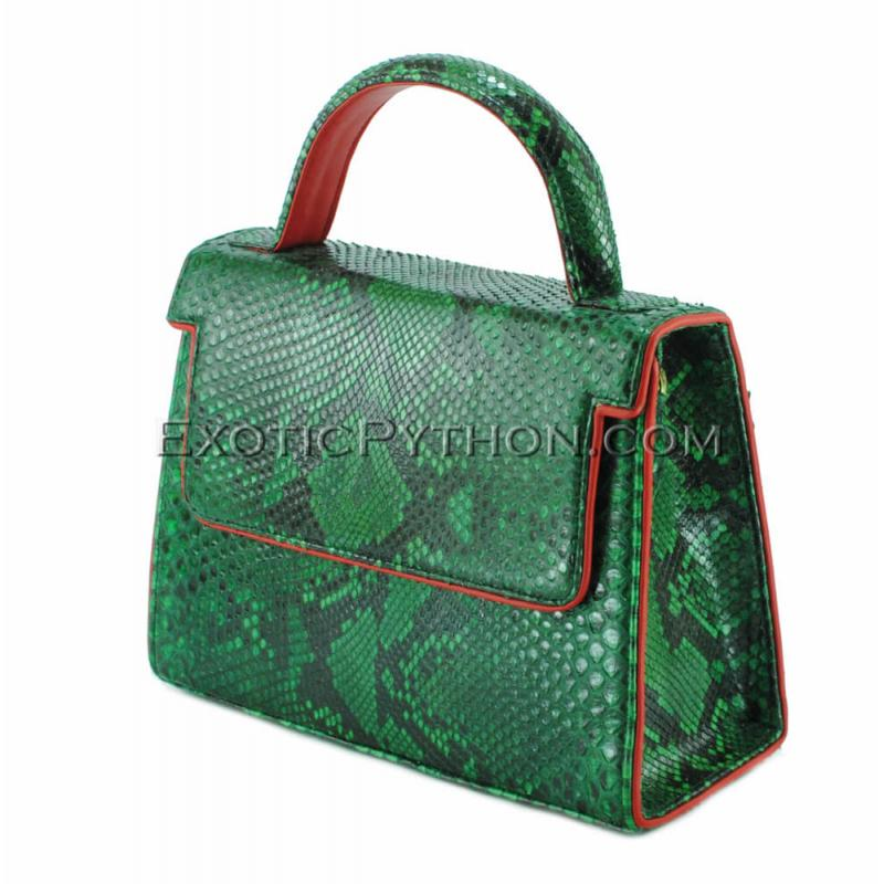Python handbag emerald green shiny BG-292