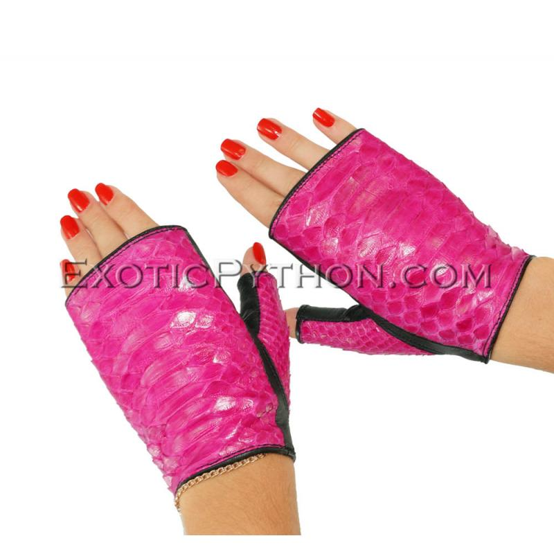 Snakeskin gloves fuchsia color AC-66