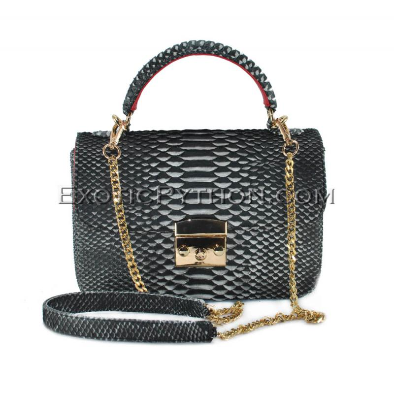 Python leather crossbody bag BG-329