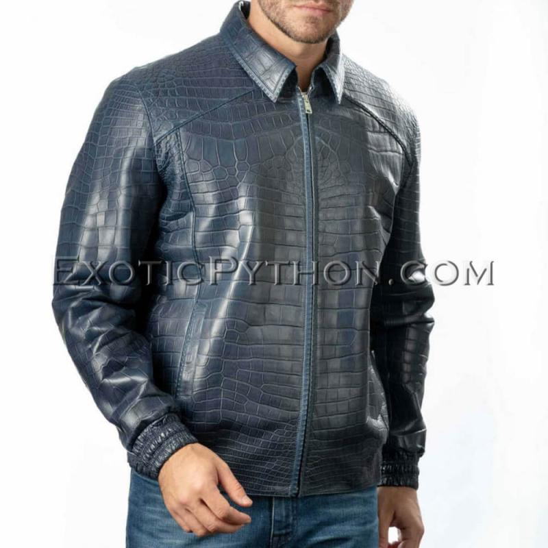 Crocodile skin jacket for men blue color JT-47