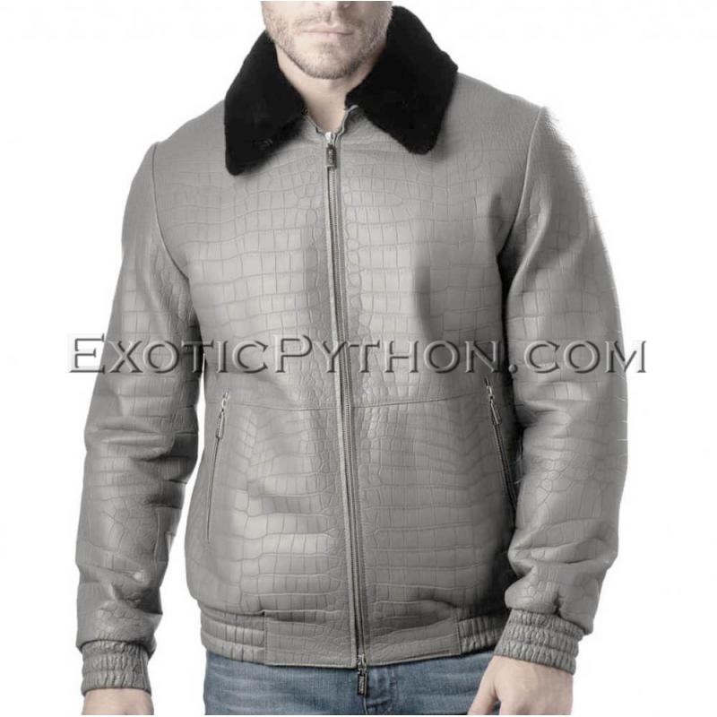 Crocodile leather jacket for men gray color JT-48