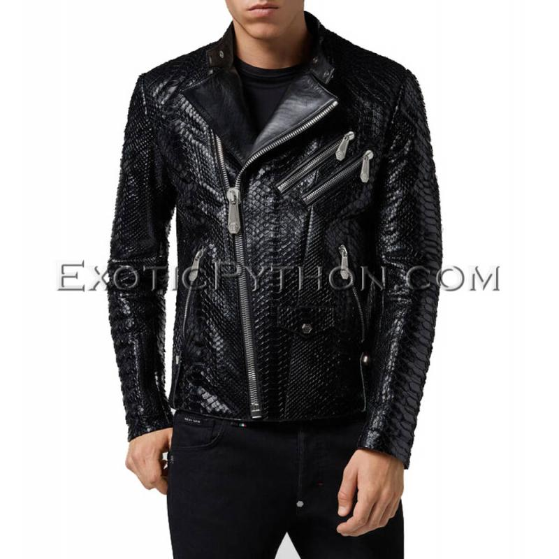 Men's snakeskin jacket black color  JT-70