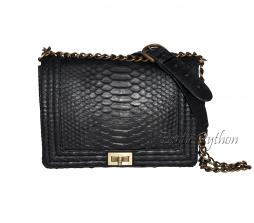 Snakeskin crossbody bag  black matt CL-92