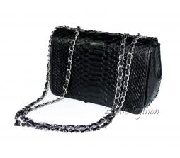 Snakeskin crossbody bag black glossy CL-4