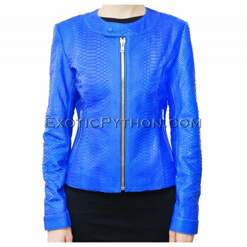 Snakeskin leather jacket blue matt JK-24