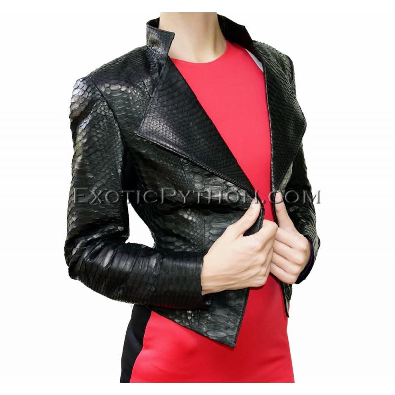 Python leather jacket black glossy JK-21