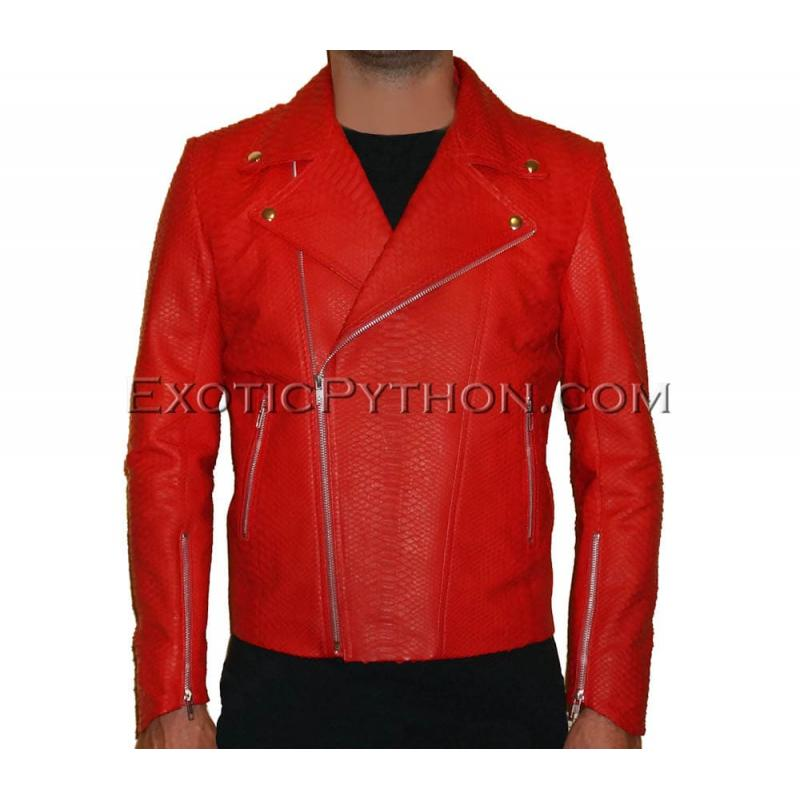 Mens snakeskin jacket red matt JK-27