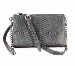 Snakeskin crossbody bag grey shiny BG-224