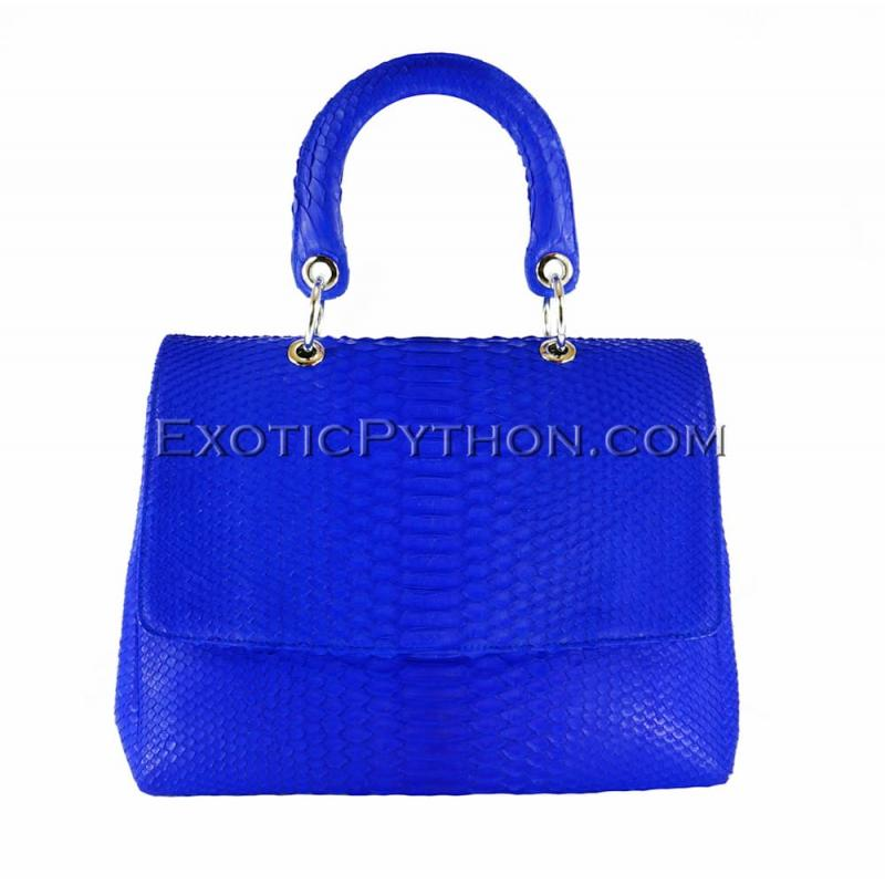 Snakeskin handbag bright blue matt BG-220