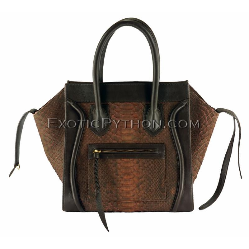 Snake leather bag brown motive BG-218