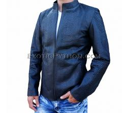 Snakeskin leather jacket men's black matt JK-18
