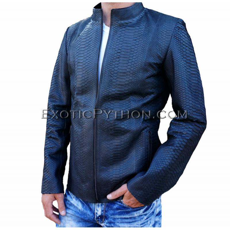 Snakeskin leather jacket mens black matt JK-18