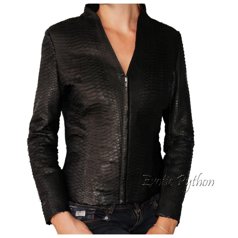 Snakeskin leather jacket black matt JK-5