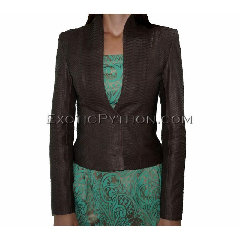 Snakeskin jacket women's brown matt JK-9