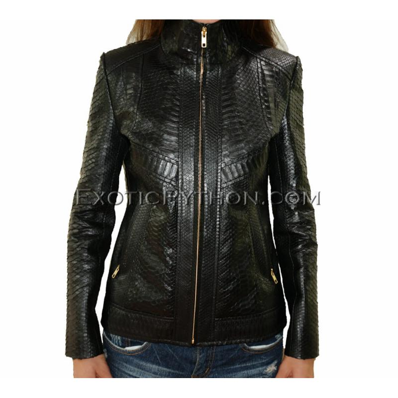 Snakeskin leather jacket black shiny JK-10