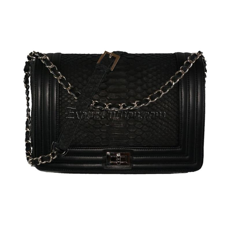 Snakeskin crossbody bag classic black CL-21