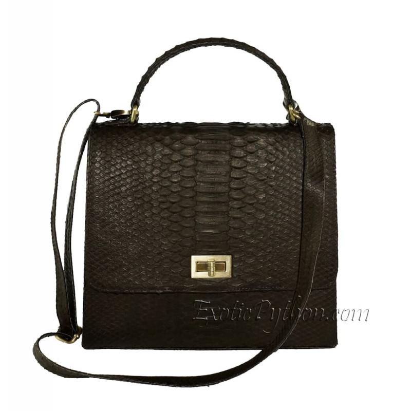 Python skin bag dark brown matt BG-01