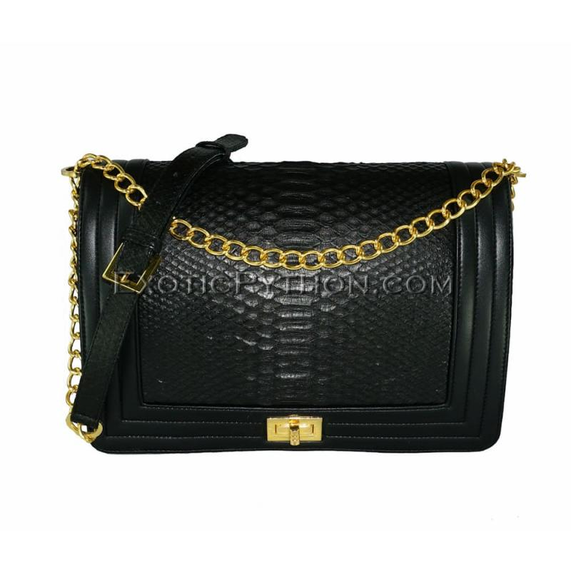Snakeskin crossbody bag black shiny CL-201