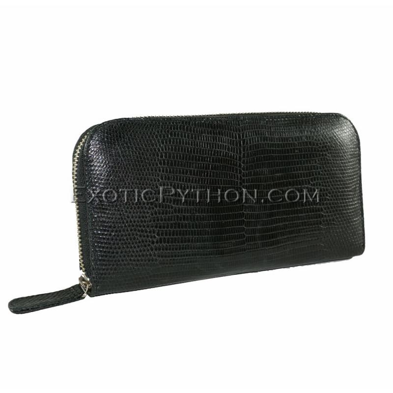 Lizard skin wallet dark brown glossy WA-52