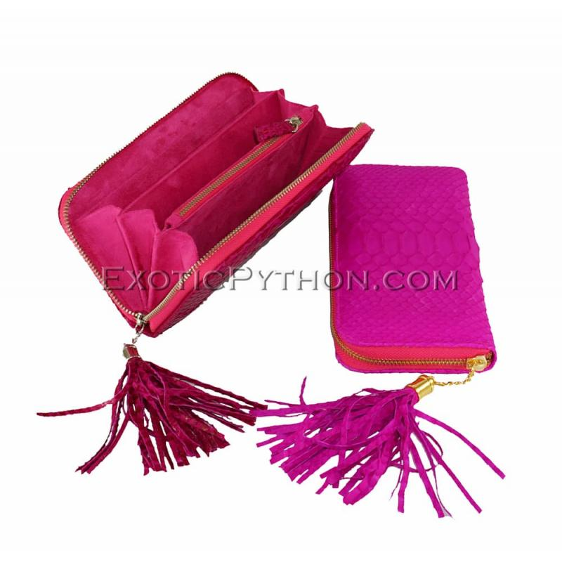 Snakeskin purse with tassle fuchsia matt WA-58