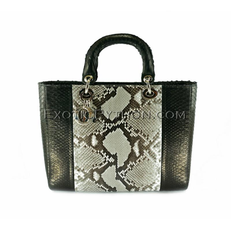 Snakeskin bag black & natural shiny BG-234